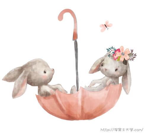 ウサギのロマンチックな絵
