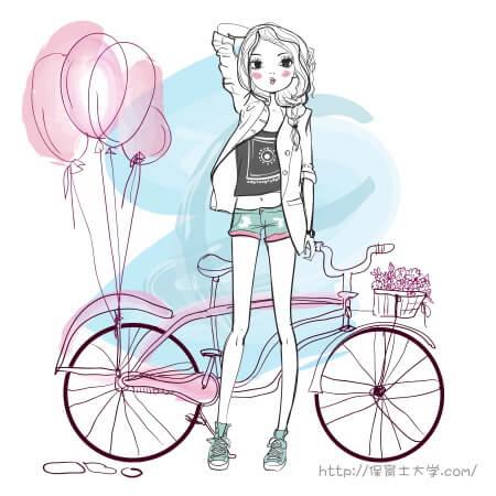 保育士専門学校に自転車で通学中の女の子